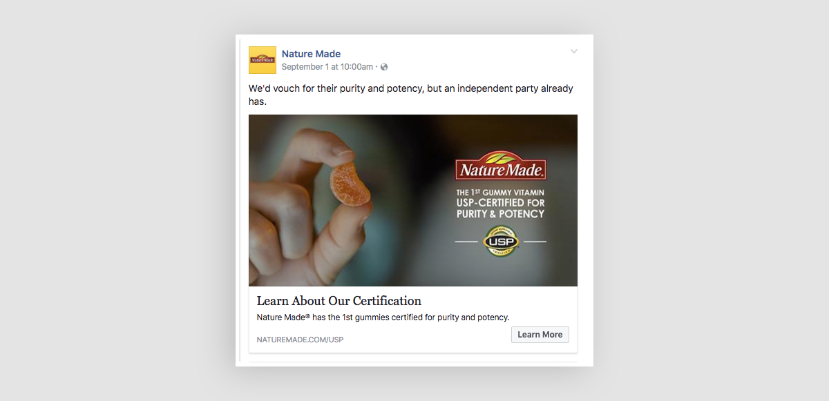 A screenshot of a Facebook post showcasing certification for a NatureMade vitamin.