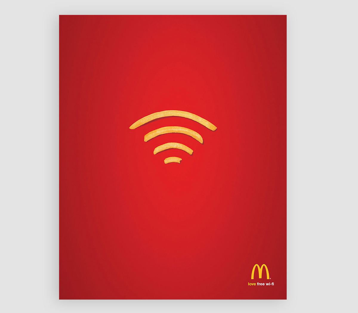 An ad showcasing french fries representing a Wifi signal.