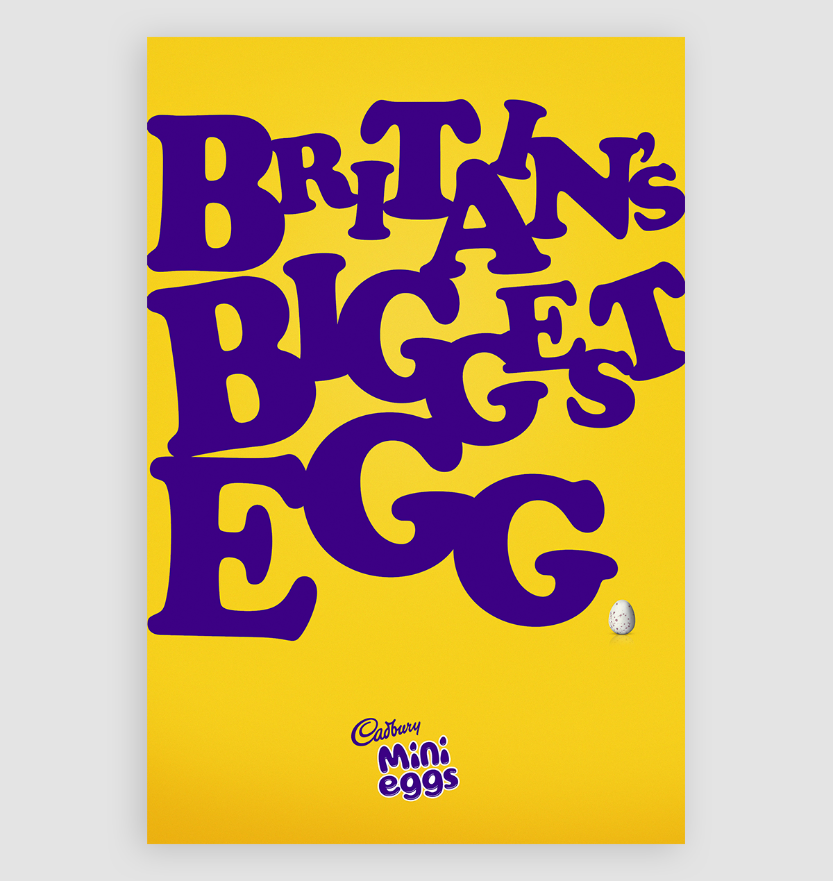 A yellow and purple Cadbury egg with huge font to grab attention.