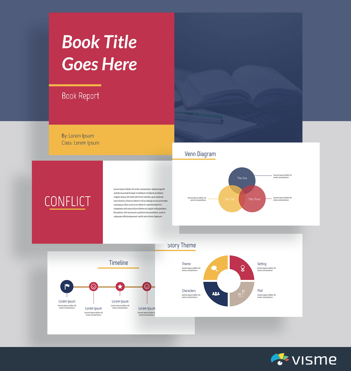 presentation slides - book report template visme