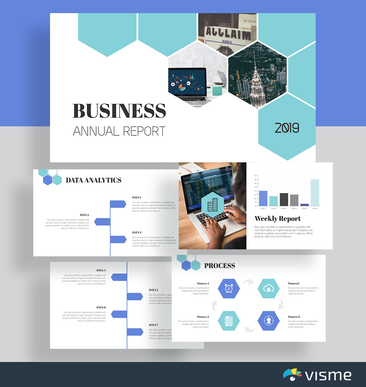 presentation slides - business annual report template visme