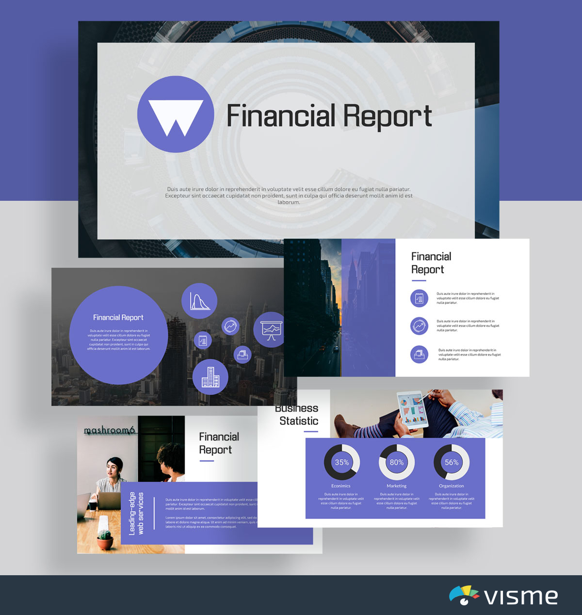 presentation slides - financial report template visme