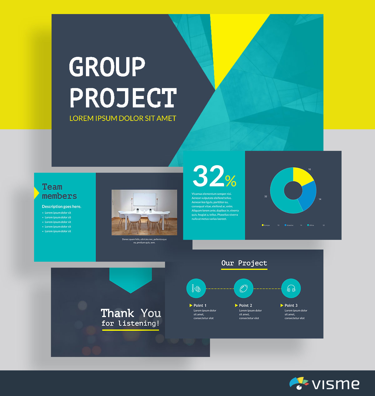 presentation slides - group project template visme