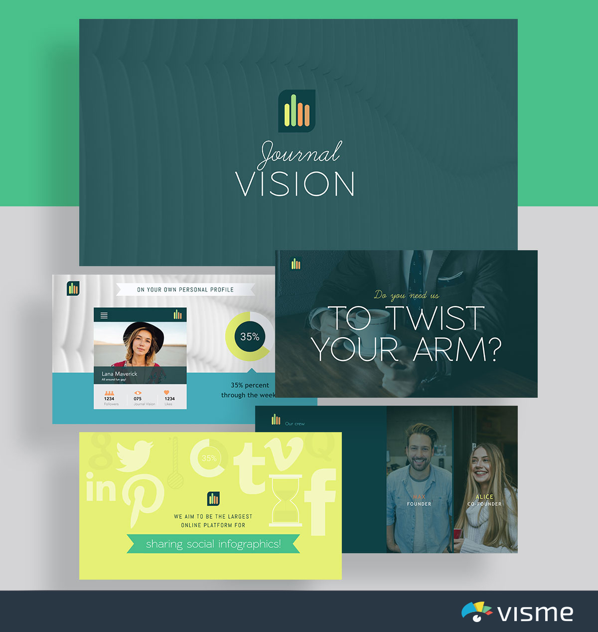 presentation slides - journalvision biogrify pitch deck template visme
