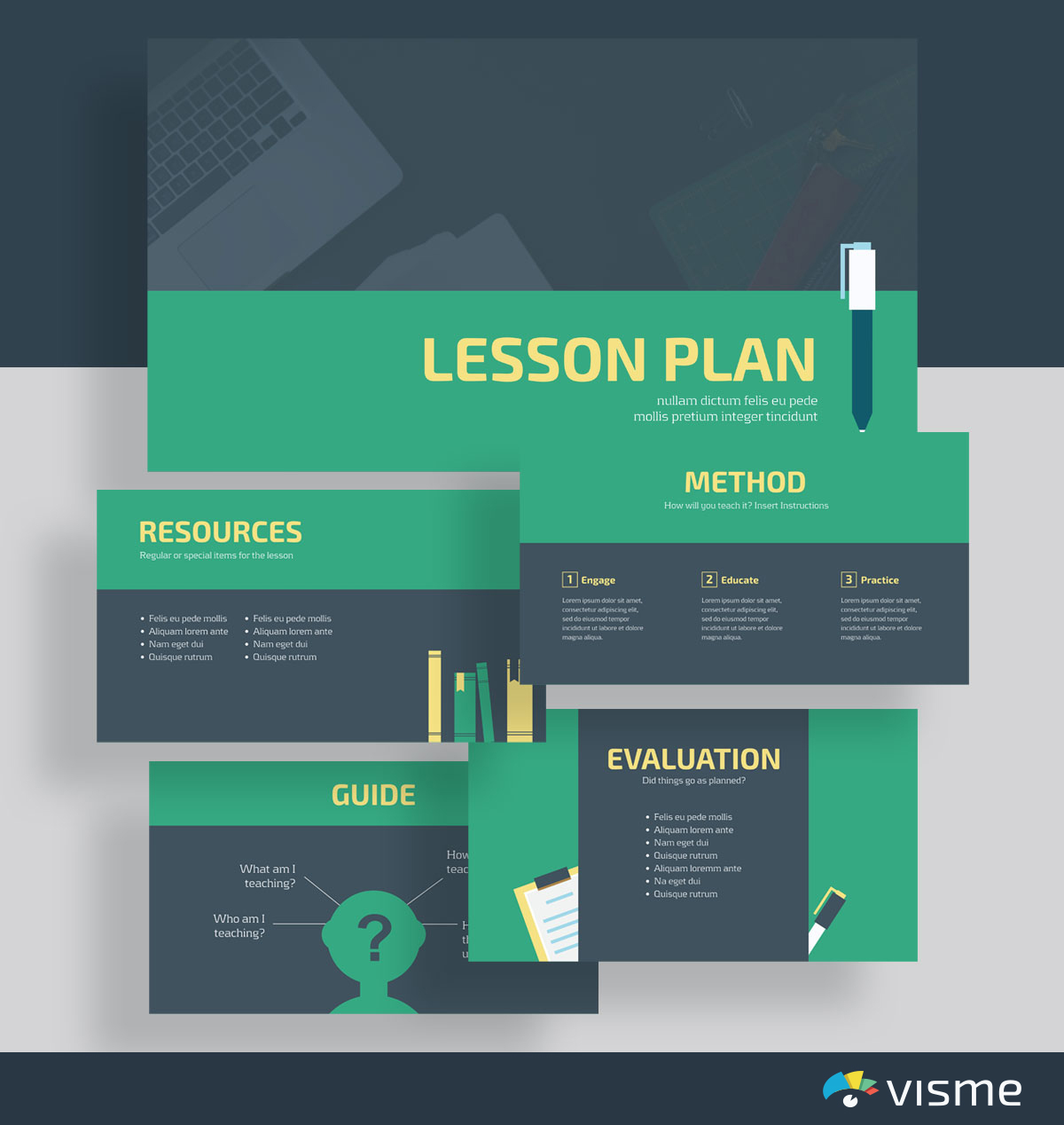presentation slides - lesson plan template visme