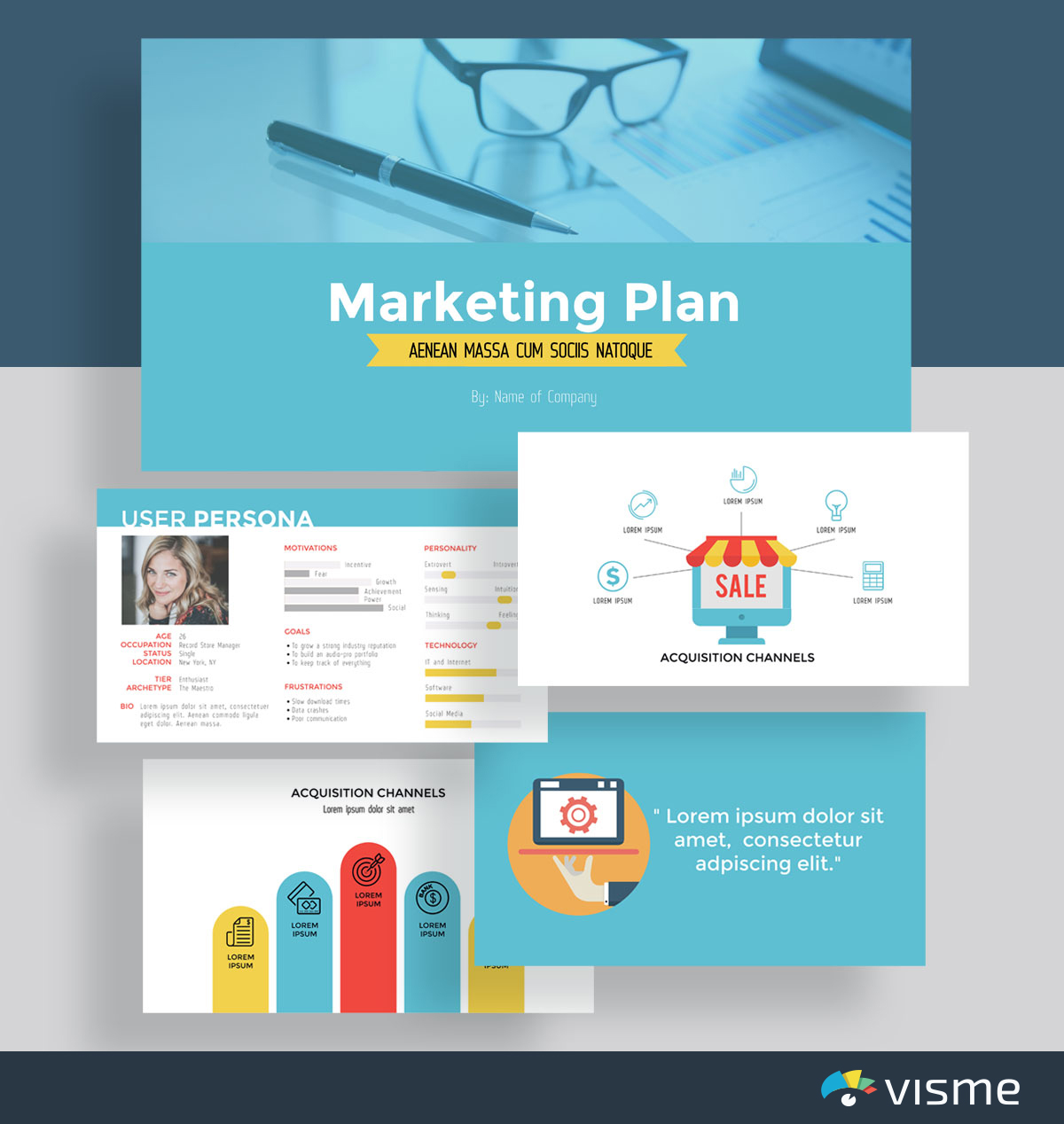 presentation slides - marketing plan template visme