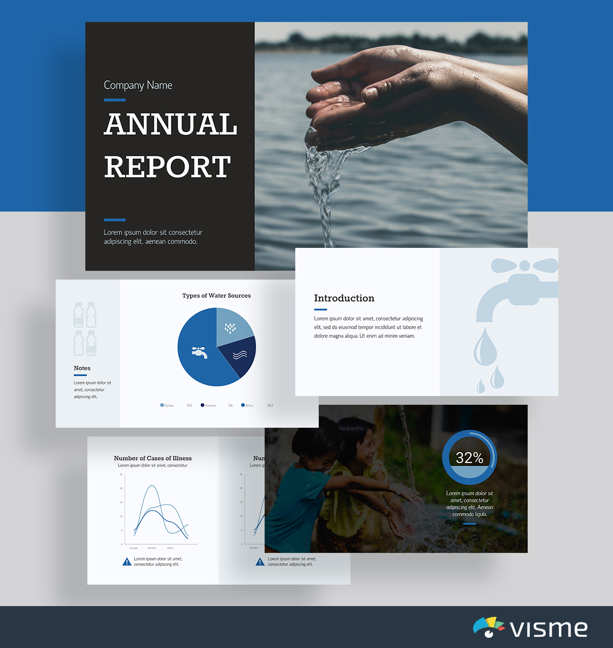 presentation slides - nonprofit report template visme