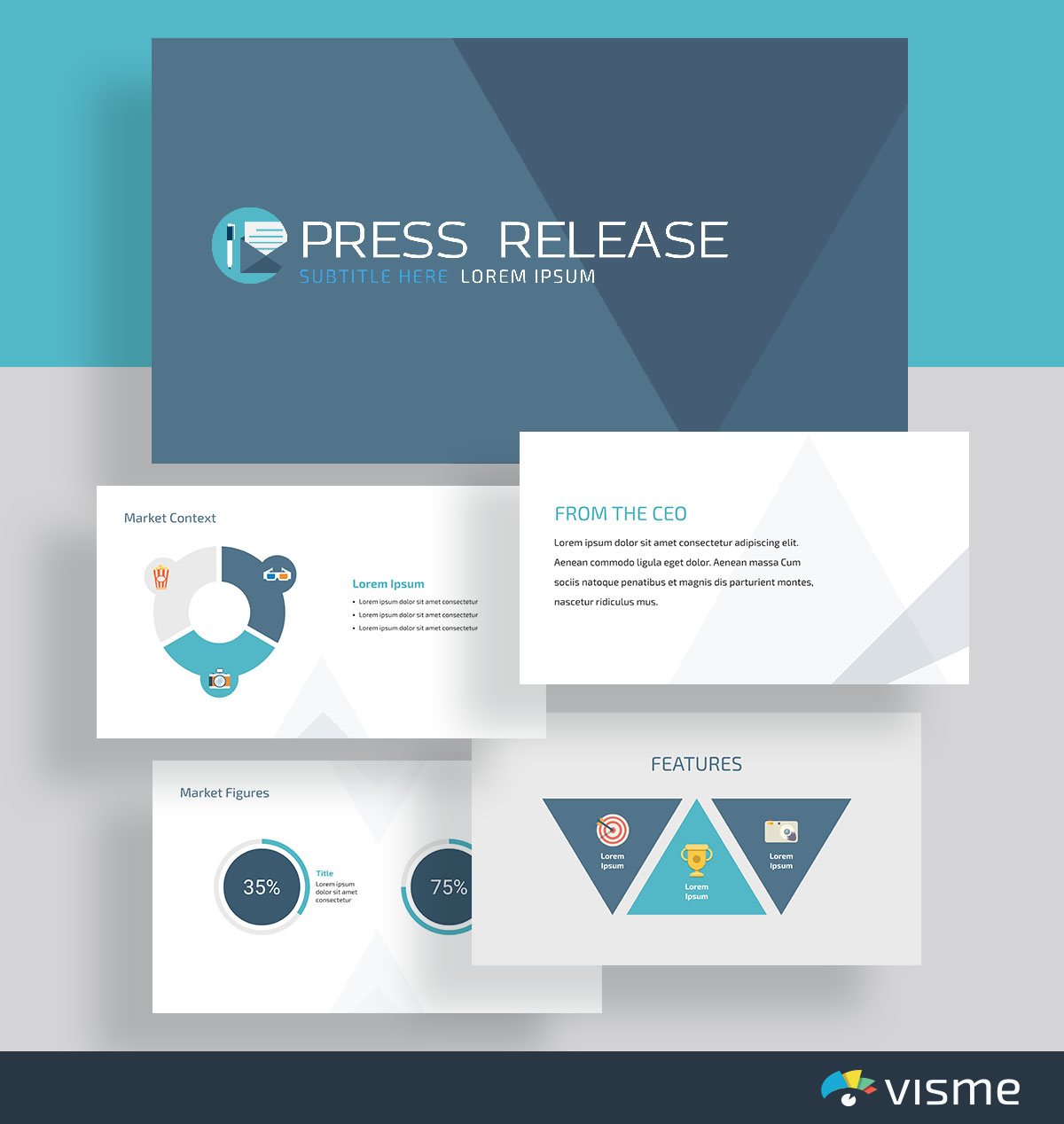 presentation slides - press release template visme