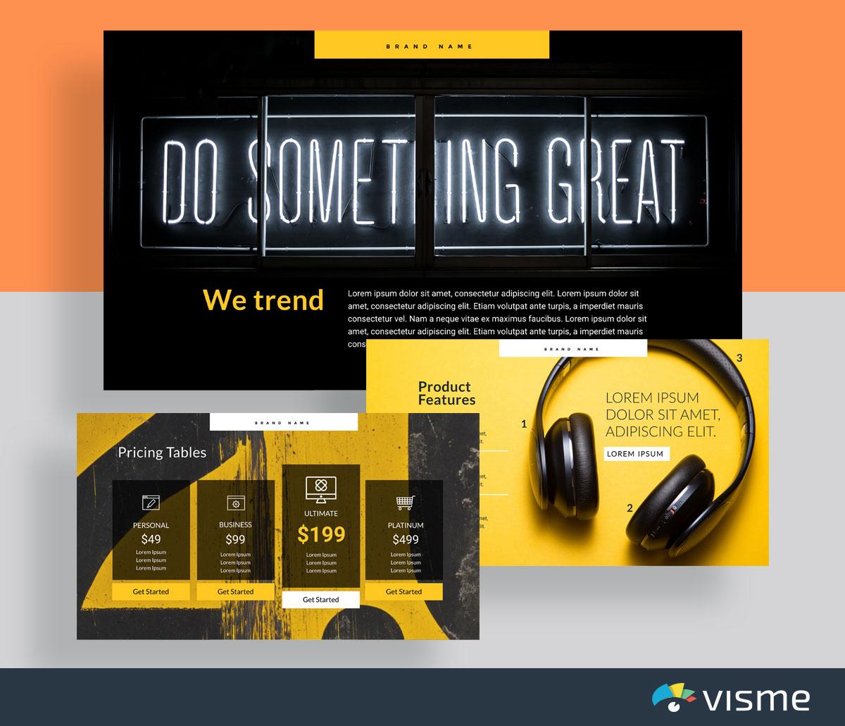 presentation slides - product presentation template visme