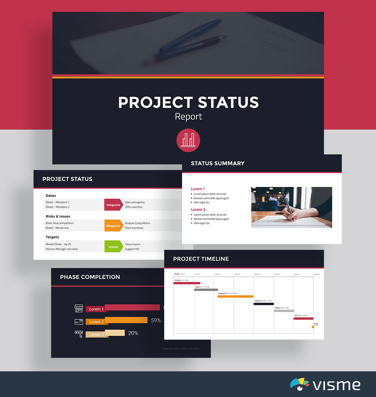 presentation slides - project status template visme