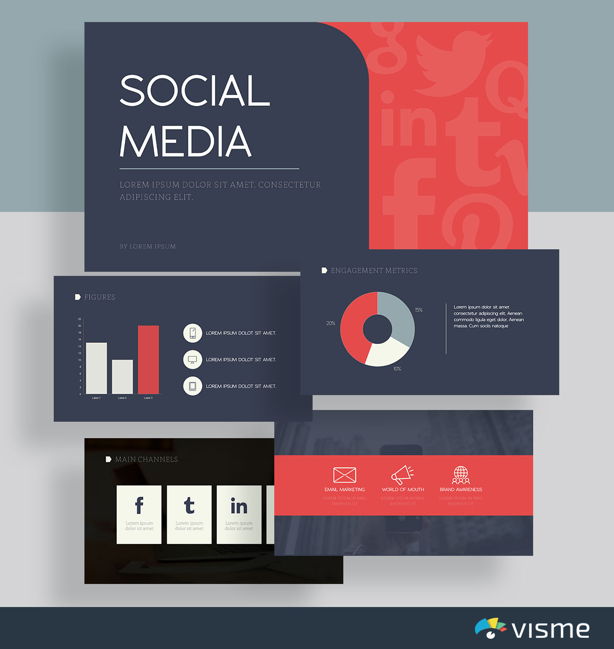 presentation slides - social media report template visme