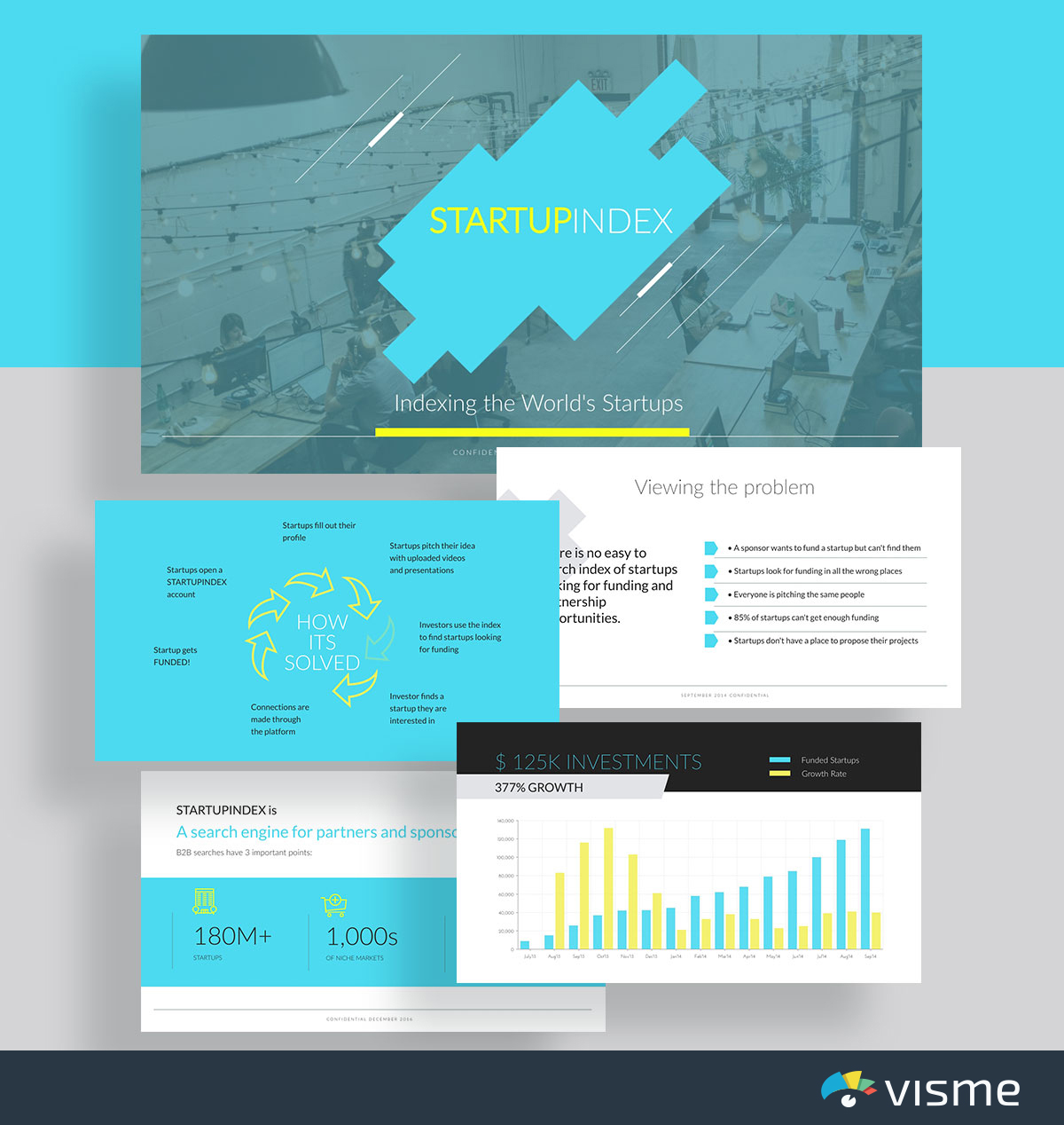 presentation slides - startup index mattermark pitch deck template visme