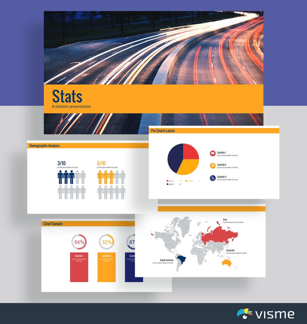 presentation slides - statistical presentation template visme