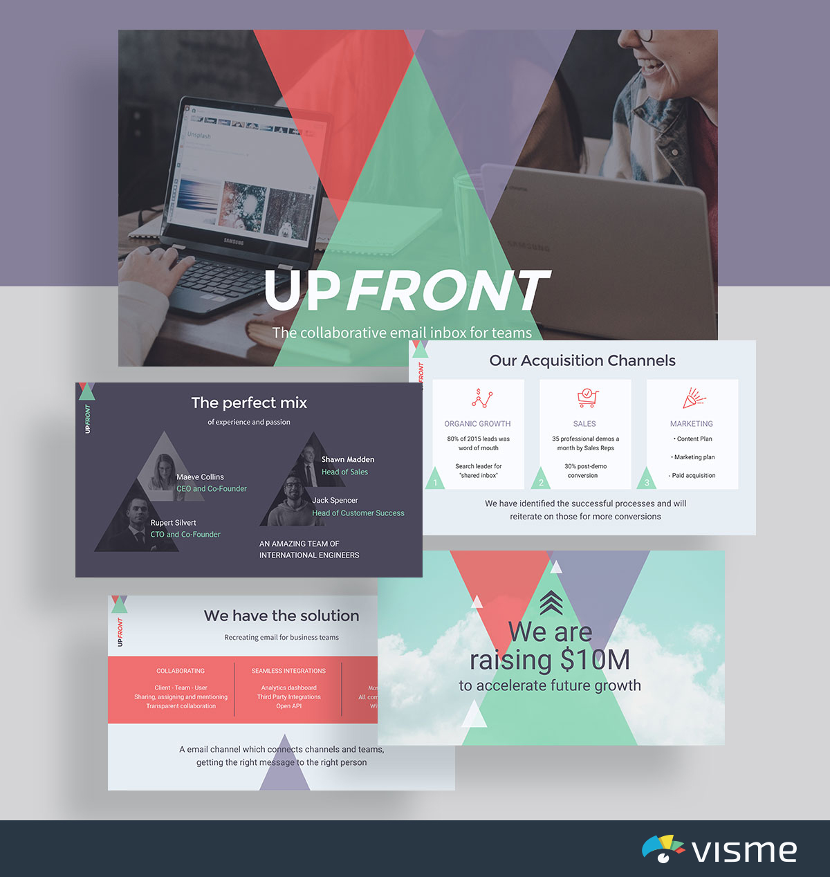 presentation slides - upfront front pitch deck template visme