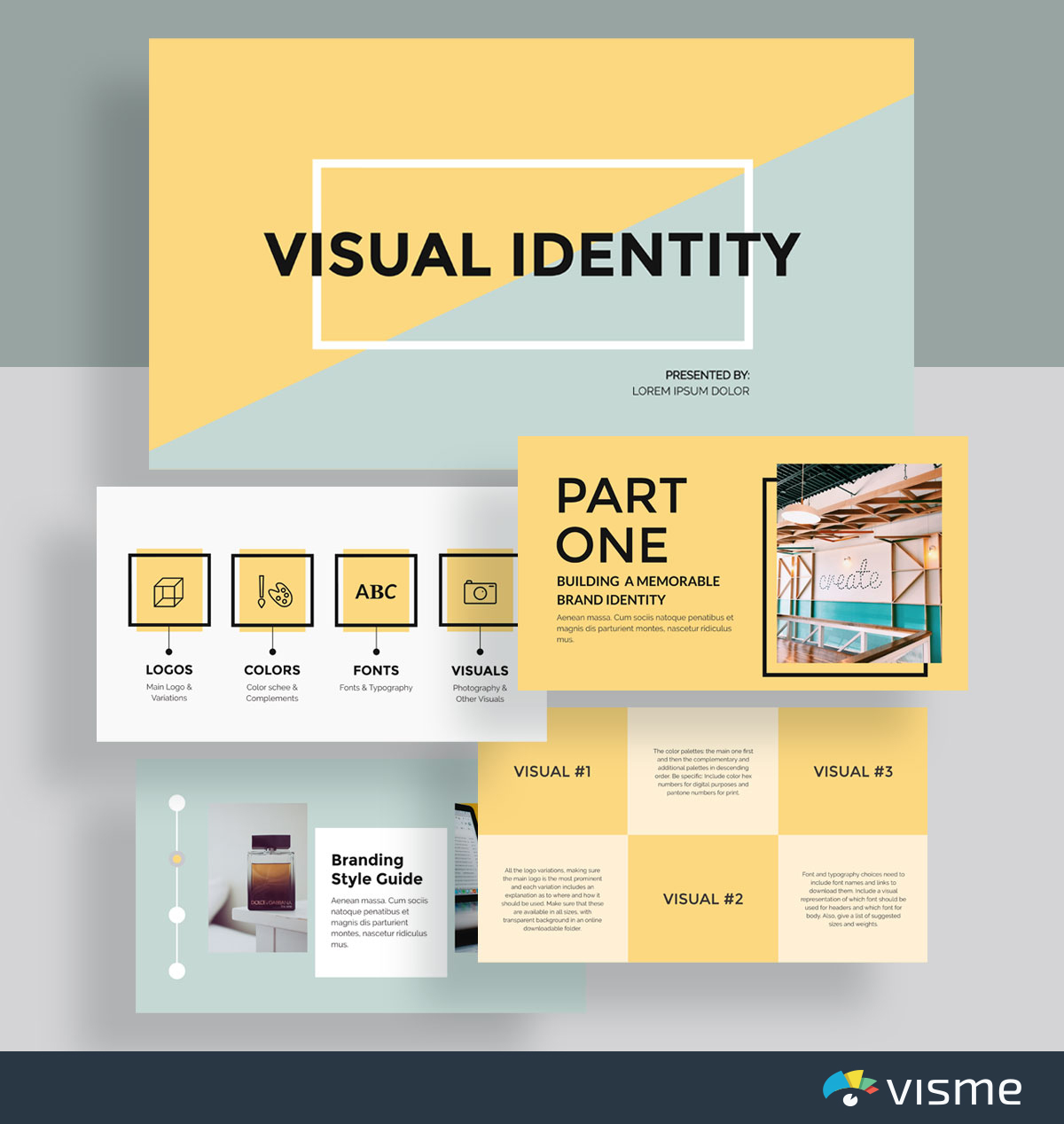 presentation slides - visual brand identity template visme