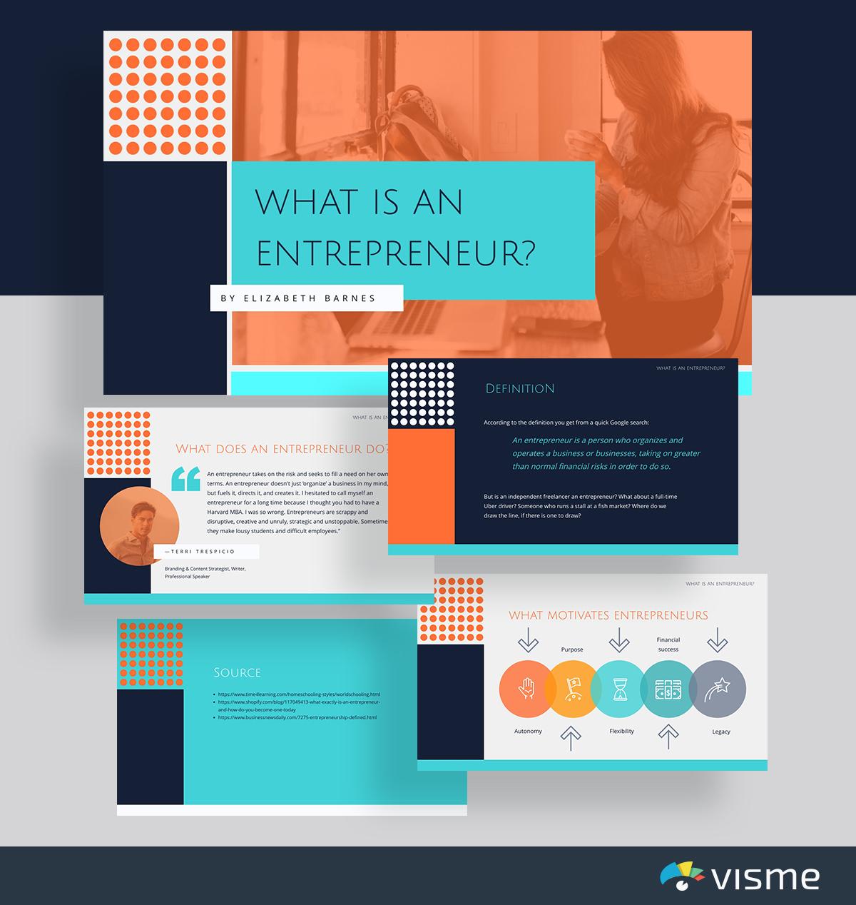 presentation topic ideas - entrepreneur work life presentation template visme