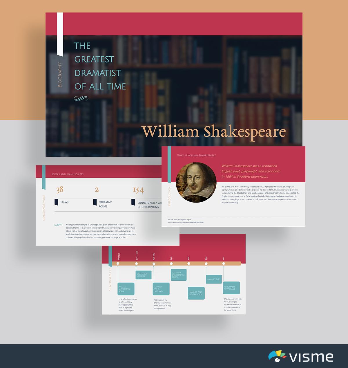 presentation topic ideas - william shakespeare literature presentation template visme