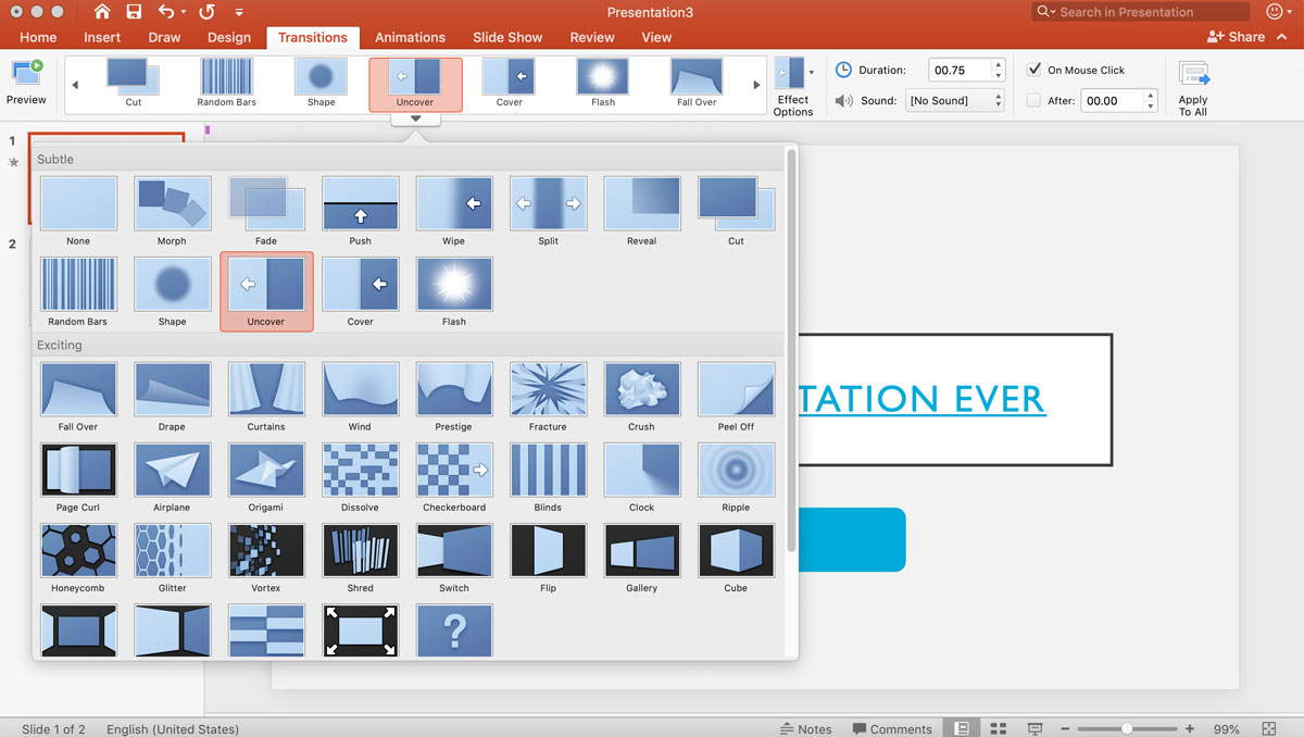 visme vs powerpoint - animation presentation transitions