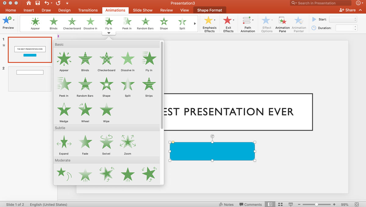 visme vs powerpoint - animation presentation transitions 3