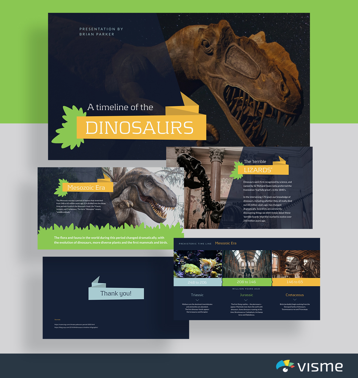 education presentation layout template - dinosaur timeline