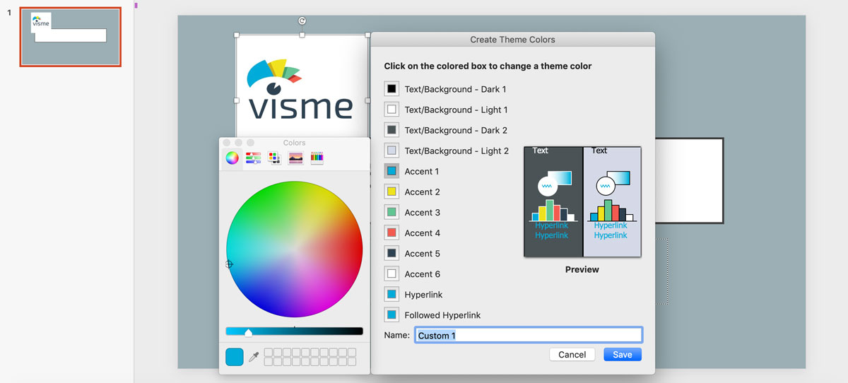 visme vs powerpoint - color picker presentations