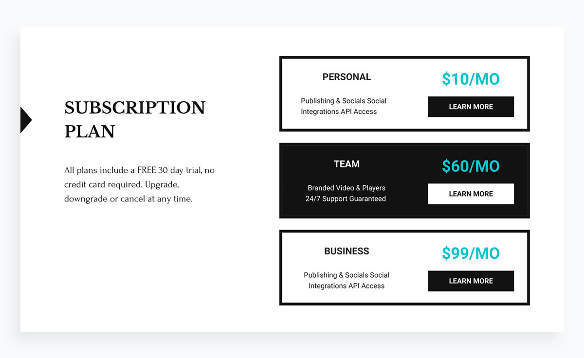 modern presentation layout template - pricing/table/subscription