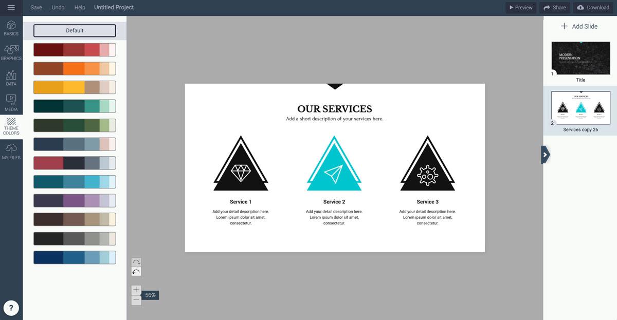 best presentation tools - color themes visme