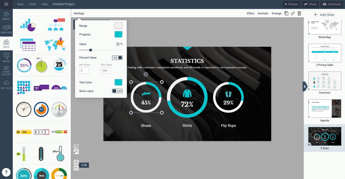 best presentation tools - radials data widgets visme