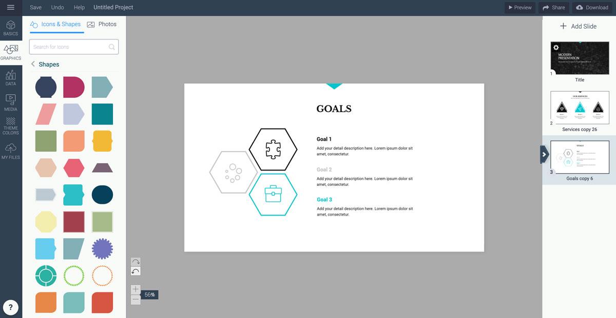 best presentation tools - shapes visme