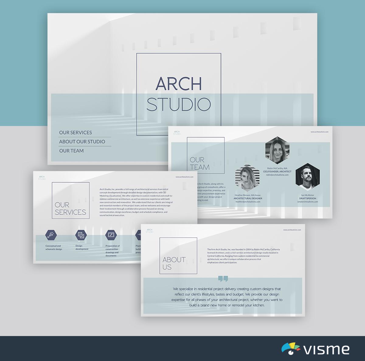 best presentation templates - architecture studio minimalist template visme