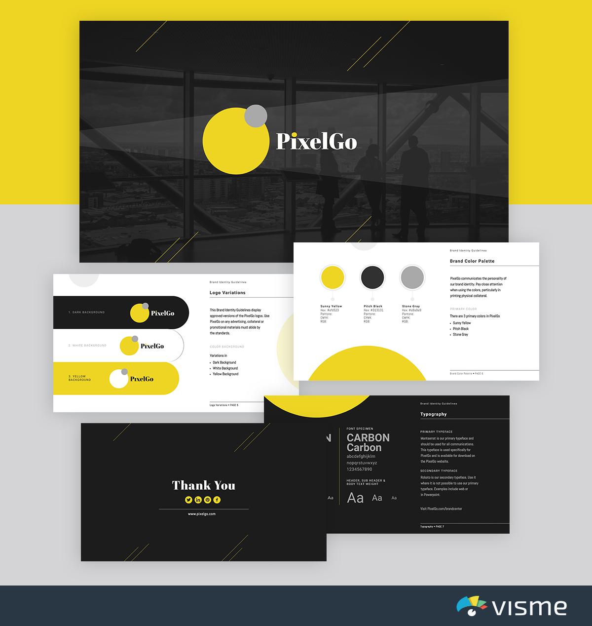 best presentation templates - pixelgo brand-identity-visme