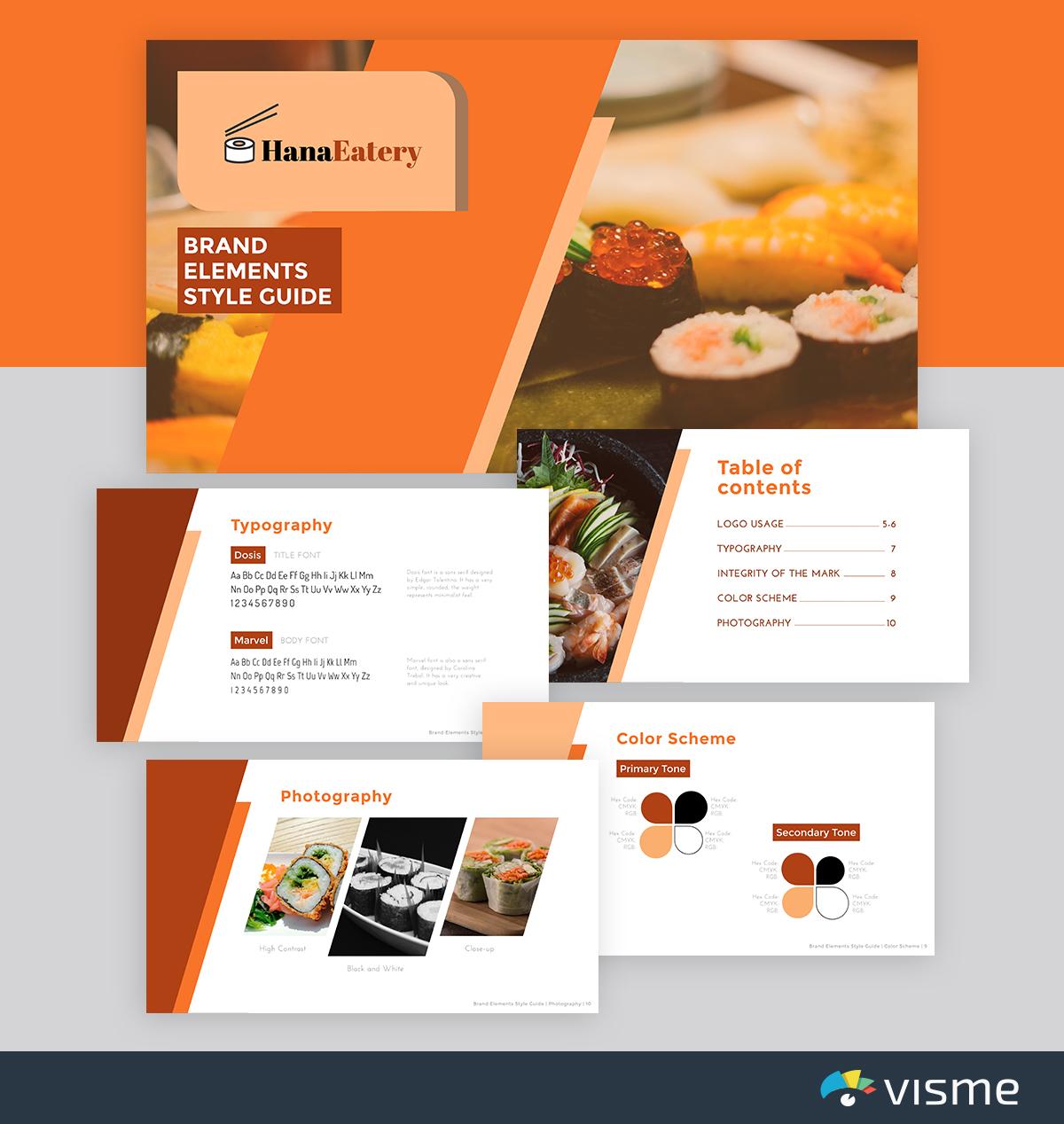 best presentation templates - Restaurant-brand-identity-visme