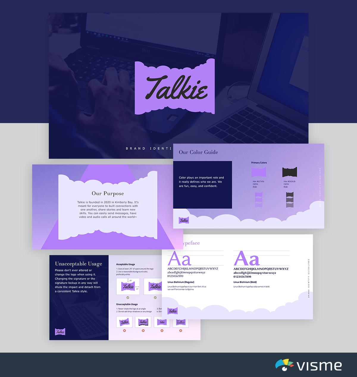 best presentation templates - talkie brand-identity-visme