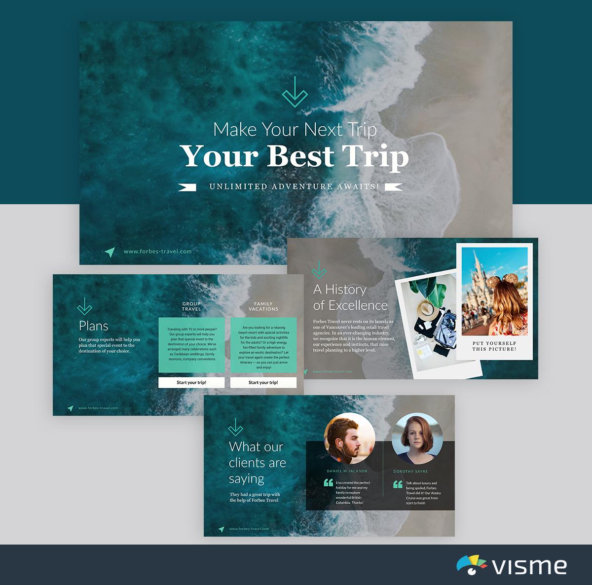 best presentation templates - travel visme
