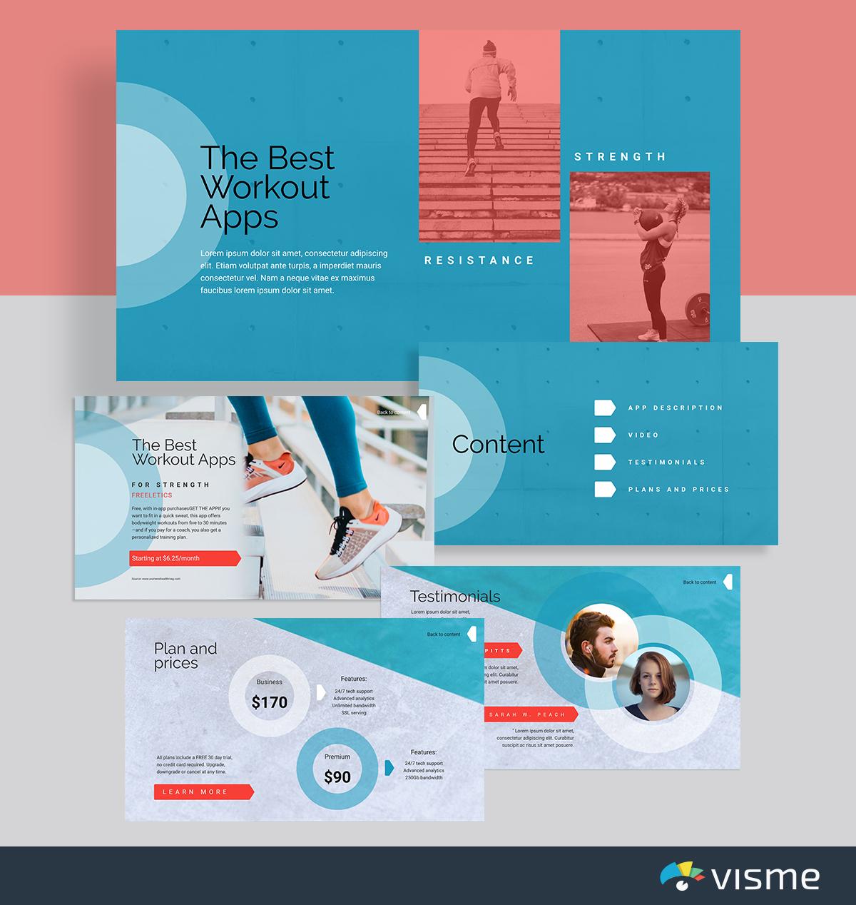 best presentation templates - fitness workout apps visme