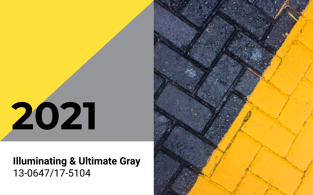 The Pantone 2021 Colors of the Year, Illuminating and Ultimate Gray.