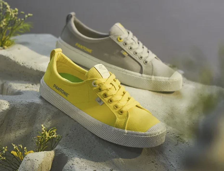 A pair of canvas shoes in the Pantone 2021 Colors of the Year.