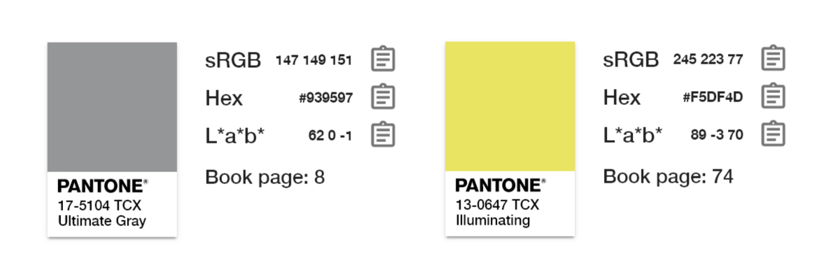 Hex codes for the Pantone 2021 Colors of the Year.