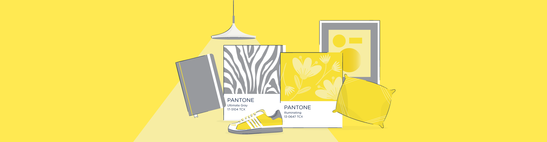 Illustration showcasing Pantones 2021 Colors of the Year.