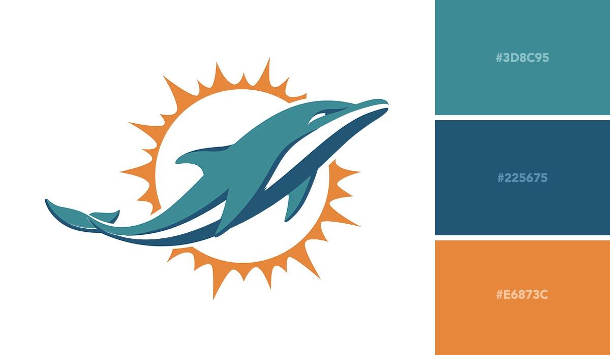logo color schemes - miami dolphins palette
