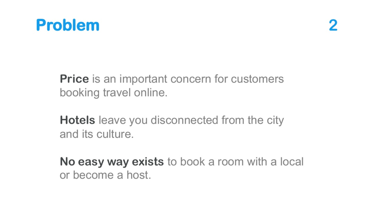 what is a pitch deck - problem slide airbnb