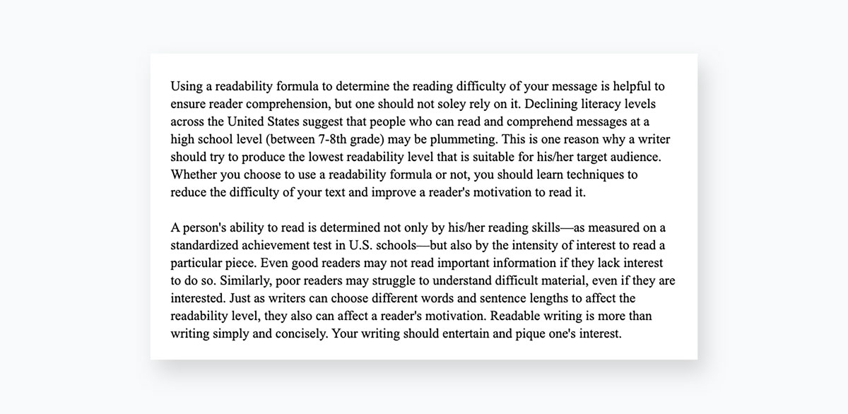 A screenshot of two large paragraphs of text.