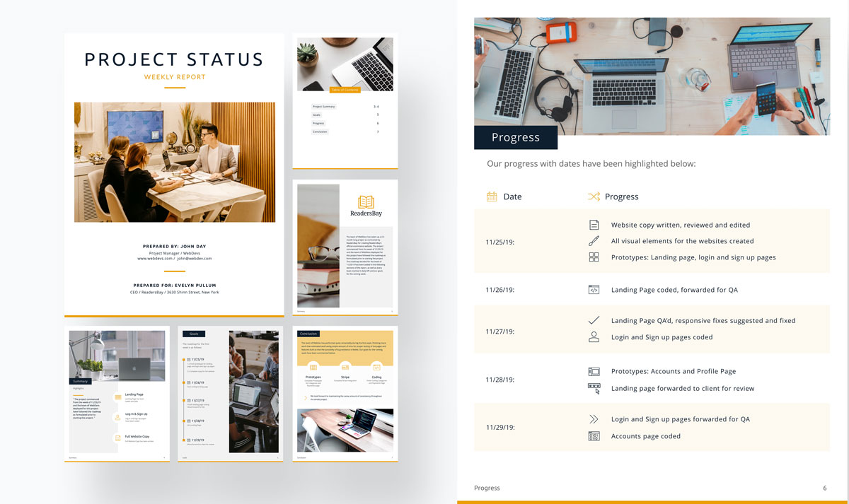 A yellow and grey project status report template available in Visme.
