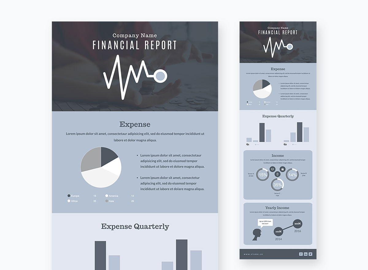 A blue and gray infographic report template available in Visme.