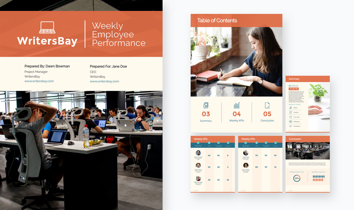 An orange and blue employee performance weekly report template available in Visme.