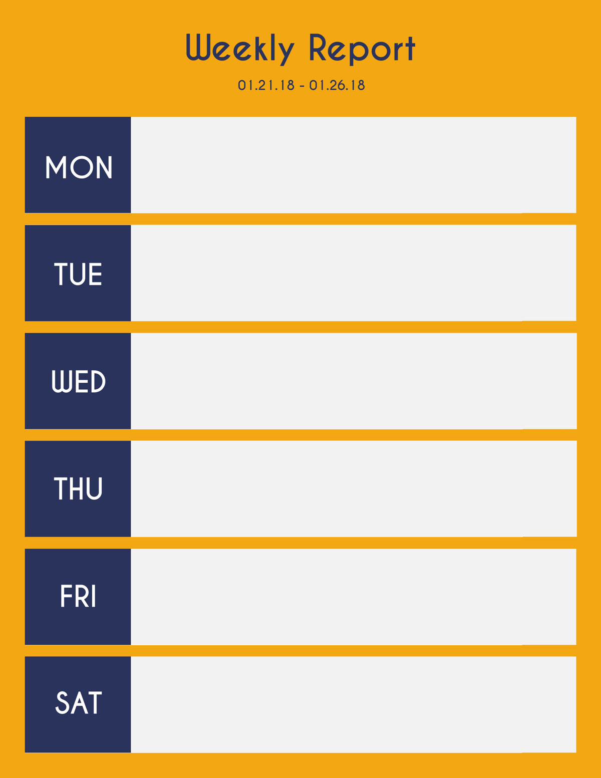 A basic yellow and blue weekly report template available in Visme.
