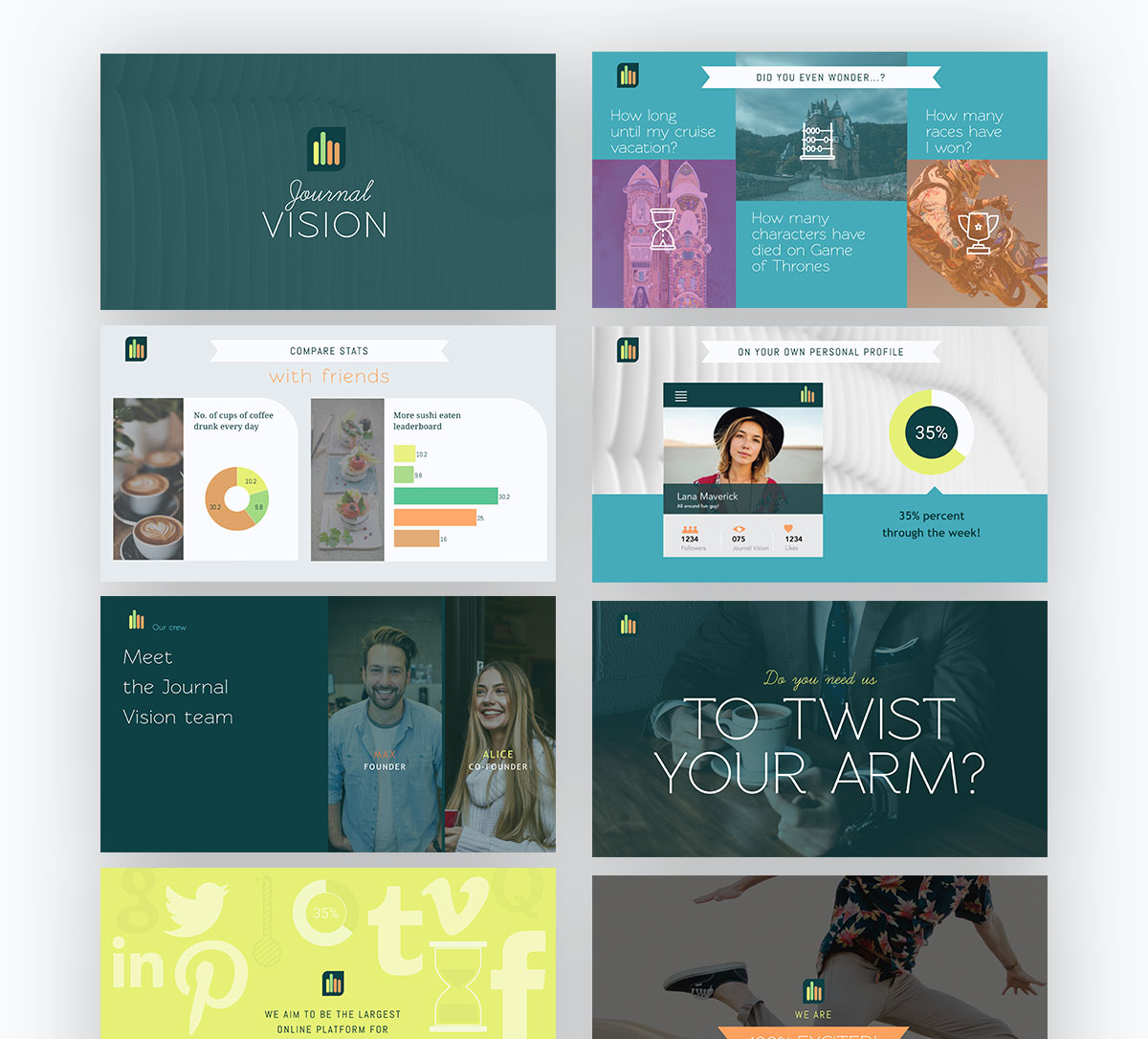 pitch deck design - journal vision pitch deck template