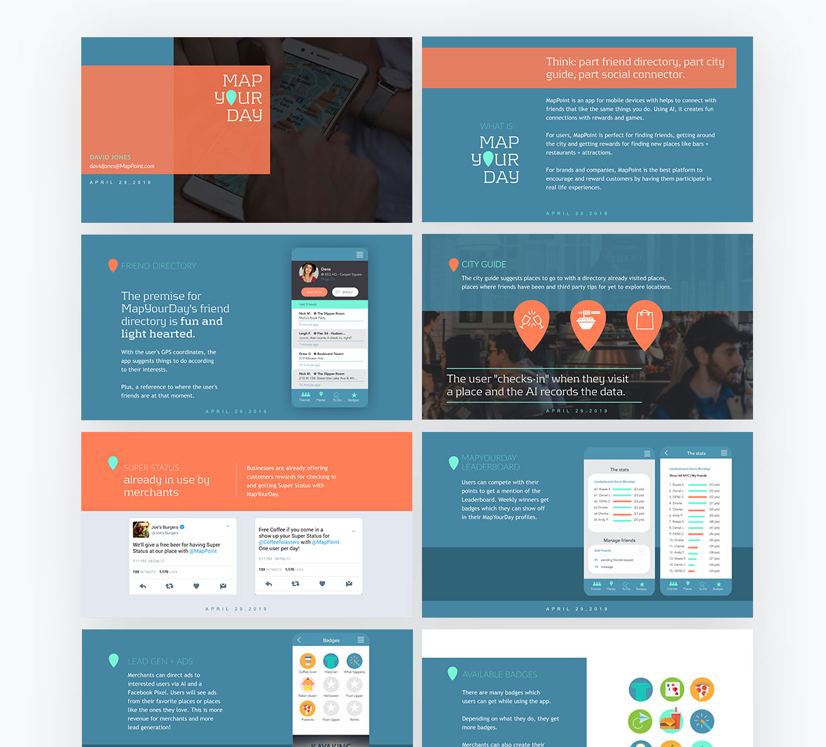 pitch deck design - map your day pitch deck template