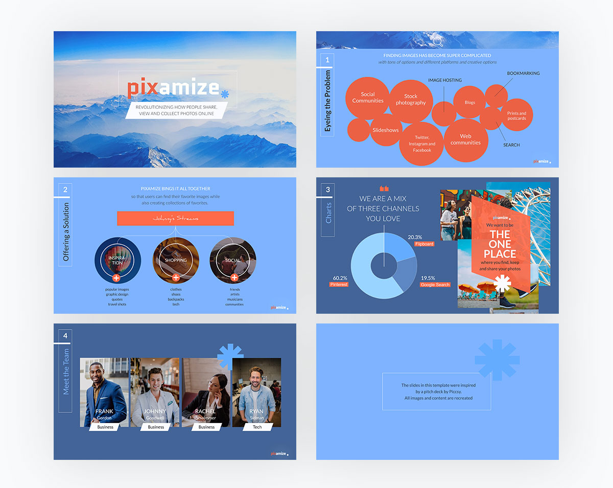 pitch deck design - pixamaze pitch deck template