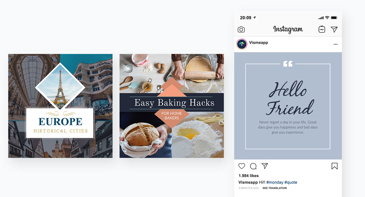 social media content - instagram templates from visme